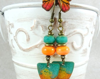 Turquoise, Yellow and Orange Earrings - Artisan Charm Earrings with Colorful Glass Beads - Turquoise Earrings - Lightweight Summer Earrings
