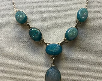 6 stone mint Druzy necklace set in sterling silver    VJSE