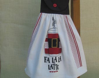 "Christmas Coffee Kitchen Towel, ""Fa La La Latte"" Hanging Dish Towel, Red and Black Kitchen Decor, Coffee Lover Gift"