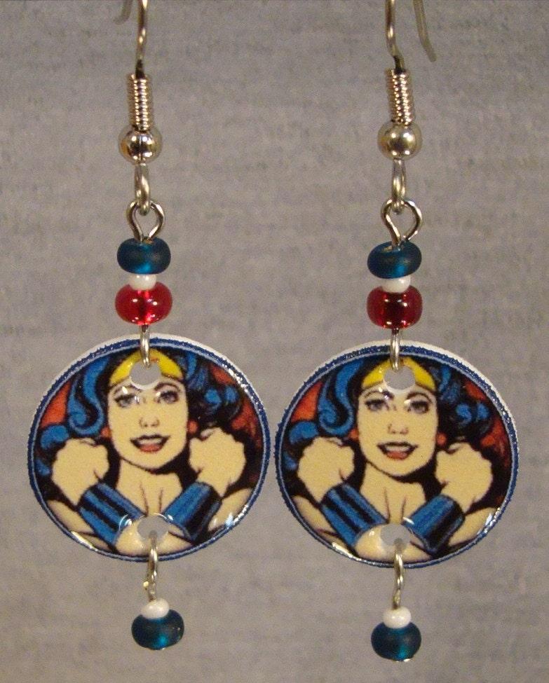 wonder woman dangle earrings super hero jewelry by afanaffair. Black Bedroom Furniture Sets. Home Design Ideas