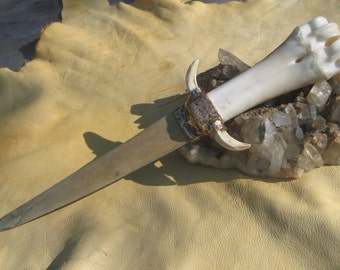 Custom Primitive Style ...Bronze and Buffalo Handled Athame / Knife with Swordfish Bill Blade and Boar Tusks. Wiccan Athame. Ritual Athame
