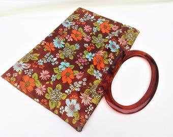 Vintage Project Bag | Flower Power Bag | Fabric Purse | Knitting Bag | Shopping Tote | Lucite Handle Handbag