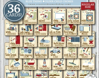 Chore Cards | 36 Printable Cards | Older Children | Blue | Instant Download | Chores | Chores for Children | Boy | Tasks | Chart Included