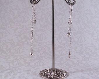 Emmi - Asymmetric Long Sterling Silver Dangle Earrings w/ Stud/Hoop Ear Wires & Feather / Eiffel Tower (Boucles Asymmetriques) by InfinEight