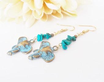 Inspiration Earrings, Elephant Earrings Dangle Turquoise Jewelry, Boho Earrings Bohemian Jewelry Ganesh Gypsy Beaded Jewelry Handmade Gift
