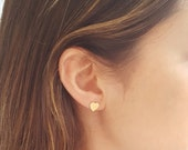 Dainty Heart Earrings, Gold Stud Earrings, Tiny heart posts, heart Jewelry, Holiday gift, Stocking stuffers, Valentines gift