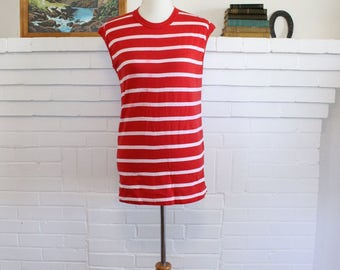 Vintage T-shirt // Stripe Shirt Muscle Tee // 50 50 Shirt Made in USA Small Medium // Sleeveless Tee