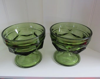 A Pair of Avocado Sherbet Dishes
