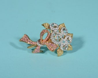 Vintage Swarovski Floral Brooch - Austrian Crystal Rhinestone - 1990s Retired