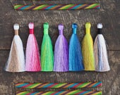 """Color Block Silky Luxe Jewelry Tassels, Jewelry Making Necklace Mala Tassels, Sprint Summer Fashion, 3.5"""", You Choose 3+ Colors"""