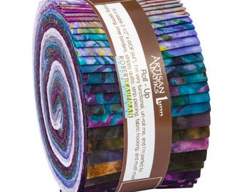 Kaufman Batik Fabric Strips Jelly Roll Rollup Enchanted 2 Wineberry RU-611-40, Quilting, Purple