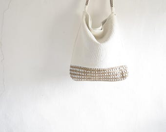 White Leather Hobo - Handwoven Beige and Leather.  Slouchy Soft - Made to Order