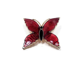 Vintage Red Butterfly Brooch Pin Enameled Gold Tone Insect Bug Retro 1980s Womens Jewelry