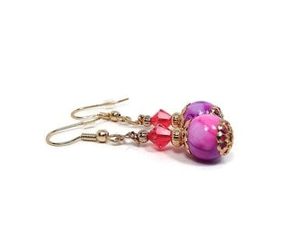 Bright Red Pink Purple Drop Earrings Colorful Summer Jewelry Modern Womens Dangle Glass and Crystals Gold Plated