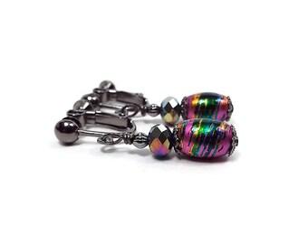 Metallic Splash Clip on Earrings Pink Multi Color Screw Back Drop Dangle Bright Colorful