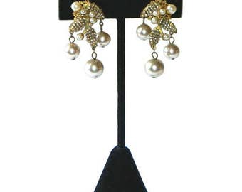 Vintage 1950's Miriam Haskell Pearl Drop Earrings