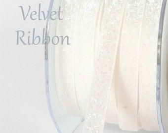 White  Glitter Velvet Ribbon  By The Yard