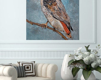 READY TO SHIP: 20x16 Original Acrylic Whimsical Curious Wise Red Tailed Hawk Woodland Nature Bird Art by MyImaginationIsYours
