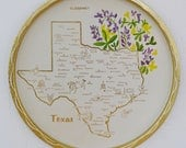 Vintage Texas Tin Serving Tray or Wall Decoration with Bluebonnets
