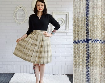 Vintage 1950s Plaid Pleated Wool Skirt in Tan and Dark Blue Size XS