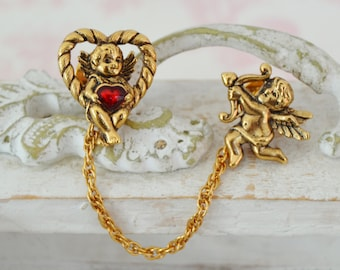 Vintage 'Captivating Cupids' and Hearts Scatter Pins with Chain by Avon
