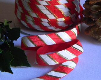 "Candy Cane FOE 5 yards of 5/8"" Fold Over Elastic Red White and Gold Foil Stripes Christmas Peppermint Print for Holiday Headbands Connectors"