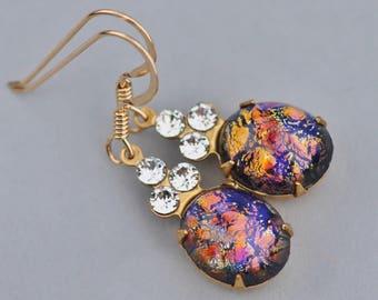 NEW Black Fire Opal Earrings,Vintage Black Harlequin Opal & Clear Rhinestone Earrings,Petite Drop,Gold Filled Earring,Colorful,Unique,Jet AB
