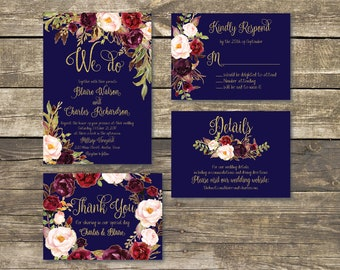 Printable Wedding Invitation - DIY Floral Watercolor Wedding - Navy Blue / Gold / Burgundy / Marsala / Wine / Blush Rustic Wedding