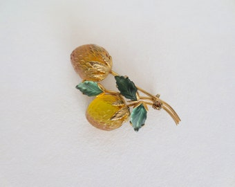 Vintage Austria Raspberry Brooch Pin Frosted Glass Gold Yellow Forbidden Fruit Austrian Berry Costume Jewelry Crystal Gold Tone Gifts Her