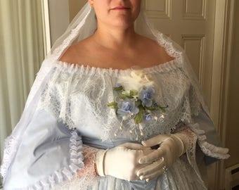 1860's Civil War Era Wedding Gown, Mid 19th Century Ballgown,  Civil War Era 1860-65 Gowns