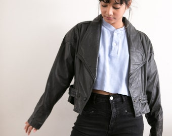 Vintage Black Leather Jacket / Cropped Leather Jacket / Short Leather Blazer / Biker Motorcycle Jacket / Punk Buttoned Coat 90s Grunge