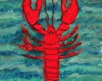 Lobster Art Print on Cardstock
