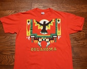 vintage 80s Oklahoma t-shirt vintage 1980 tee shirt native american indian southwest bird eagle M/L 100% cotton