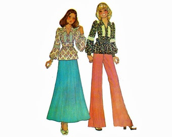 1970s Top & Pants 70s boho chic smock peasant blouse Size 11 Bust 33 1/2 Uncut Sewing Pattern McCalls 4133 Carefree pattern