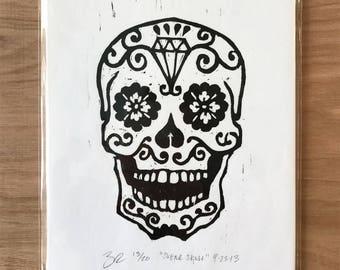 Sugar Skull Woodcut