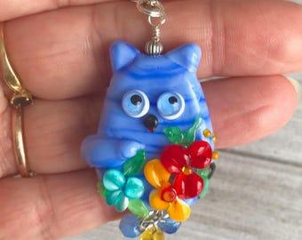Purple Cat Pendant - Flower jewelry - Kitten Cat Jewelry - Handmade Lampwork glass - Animal Lover Gift - Pet Jewellery - Purple Cat Lover