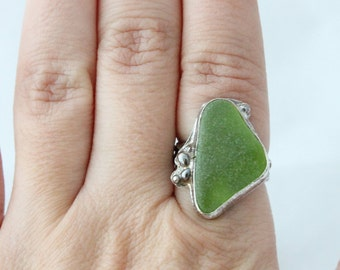Size 7 Bright Green Sea Glass Ring, Authentic Sea Glass Ring, Beach Glass Ring, Rings, Silver Rings, Handmade Rings, Sea glass Jewerly