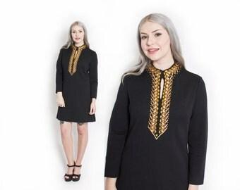 Vintage 60s Dress - Black Wool Embroidered Gold Rhinestone Cocktail Mod 1960s - Medium