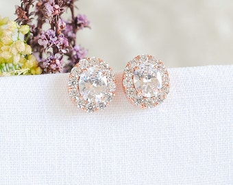 Rose Gold Bridal Earrings, Oval Wedding Stud Earrings, Crystal Halo Earrings, Modern Vintage Wedding Jewelry, Bridesmaids Earrings, EDITH