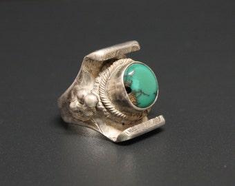 Tibetan Saddle Turquoise Ring Vintage Nepalese Size 8 Tibetan Turquoise