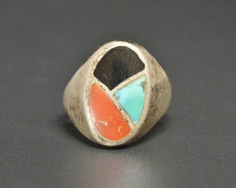 Zuni Fish Scale Inlay Mens Ring Sterling, Turquoise, Coral, Jet Size 10.25 Flat Back