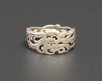 Green Man Sterling Ring Size 9