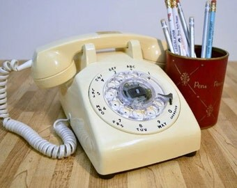 Vintage Telephone Stromberg Rotary Dial Cream Colored Land Line Desk Phone Hard Wired