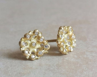 Stud Earrings in 18k Solid Gold and Diamonds . Flora Studs . Gold Studs . Diamond Earrings . Diamond Studs . Diamond Flower Studs