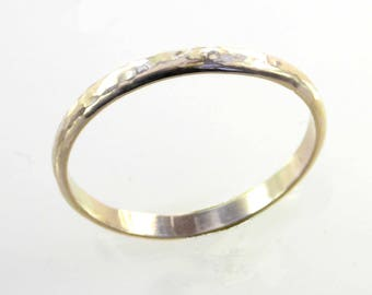 2 mm Skinny Hammered Gold Band, Smooth Rounded, 14 K, 18 K Gold, Yellow, White or Rose Gold, Unisex, Fast, Stacking Bands, Custom, Stacker