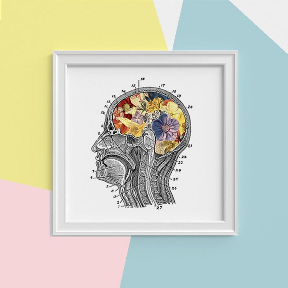 Spring Sale Flowery Brain Print, wall art Human anatomy print Science student gift Human skull art print Anatomy and flowers SQK053