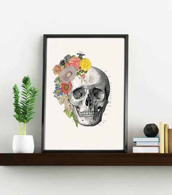 Springtime  Skull. Doctors gift Print- A4 Wall art Human anatomy print- Chic Science prints wall art flowers art, Skull print SKA138WA4