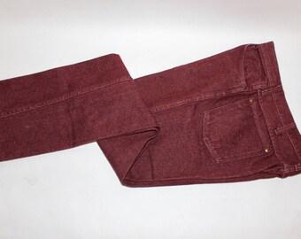 "vintage 1980's -Wrangler- 'Slim Fit' 936 jeans. Wine color - Cotton denim. 34"" x 34"". Made in USA"