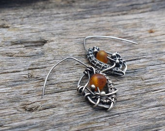 Raw Amber & Sterling Silver Wire Wrapped Earrings - Abstract Design - Honey Toned - Unique Jewelry - ACopperTree - Handmade