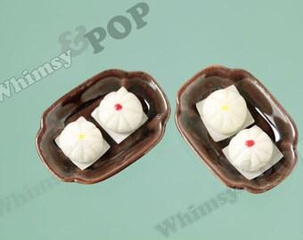 Dim Sum Steamed Bun Dollhouse Miniature Cabochons, Ceramic Polymer Clay Steamed Bun Bao Cabochons, Food Miniatures, 32mm x 22mm (6-5D)